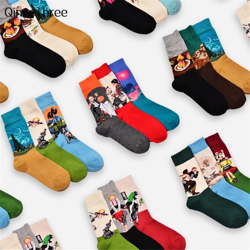 Retro World Famous Painting Socks Men Women's Vintage Literary Abstract Oil Painting Tube Socks Couples Socks Drop Ship