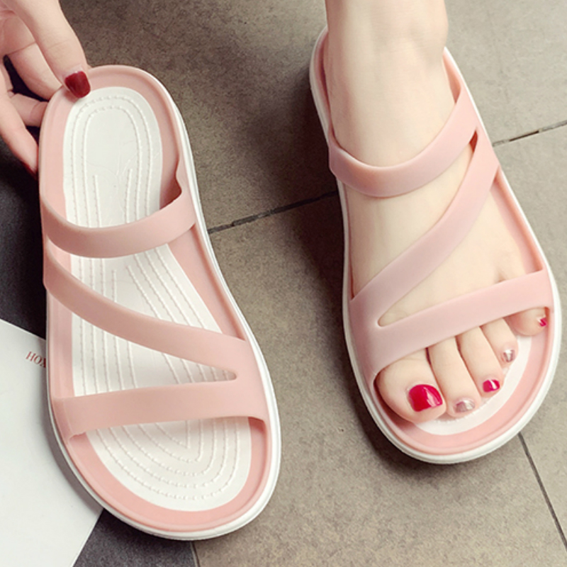 Women Summer Slippers Platform Flat Low Heel Jelly Shoes Peep Toe Slides Casual Beach Outdoot Female Ladies Zapatos De Mujer