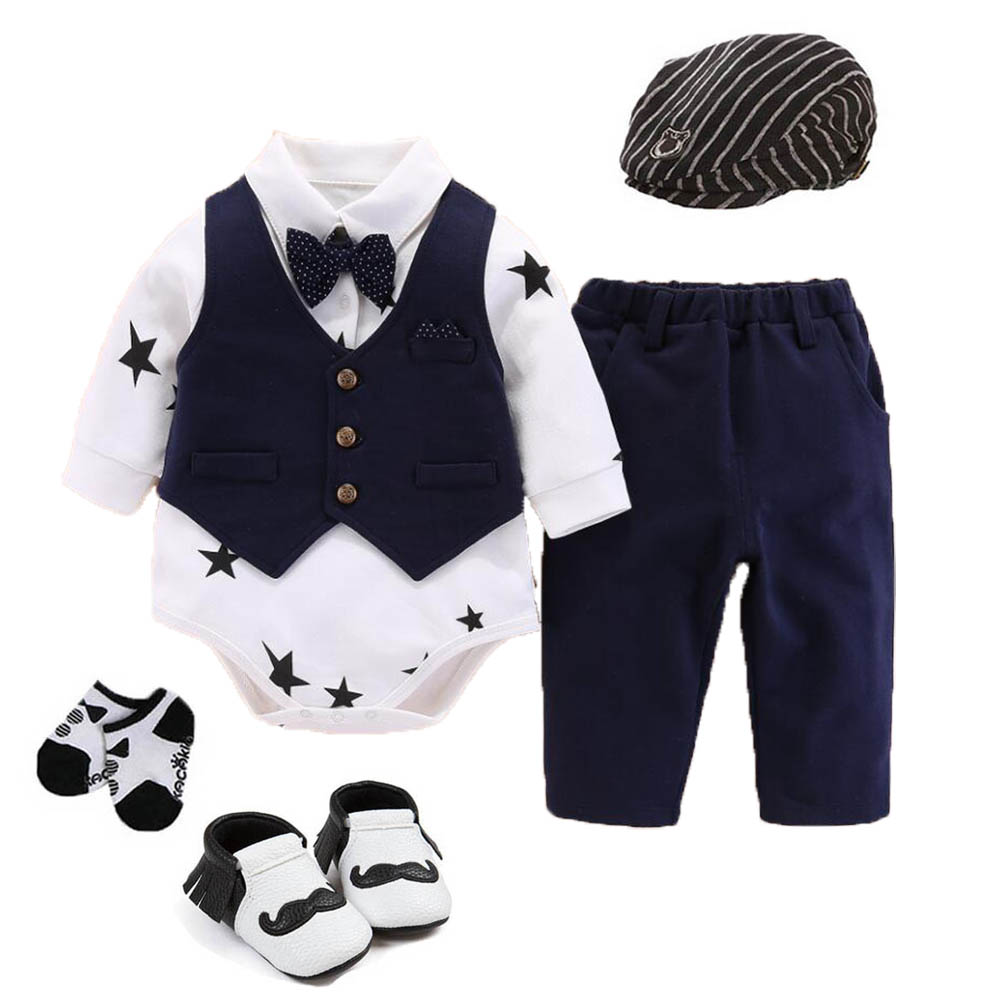 1pc Baby boys clothes daily wedding party birthday tuxedo bodysuit jumpers