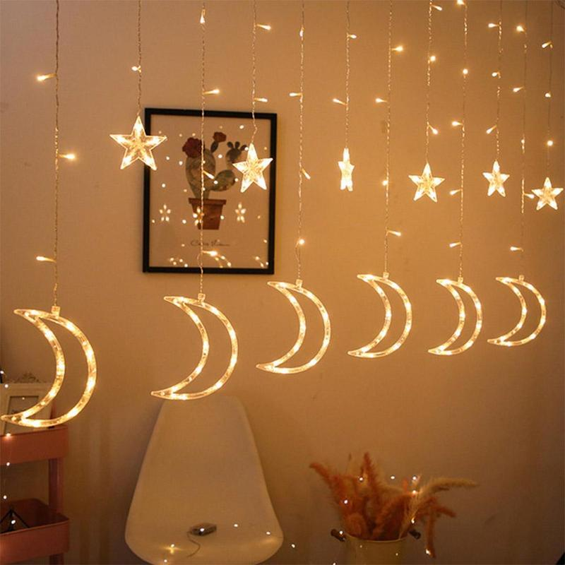 Ramadan Eid Mubarak Decorative Lights Led Lights Star Moon Curtain Lights Decorative Lanterns