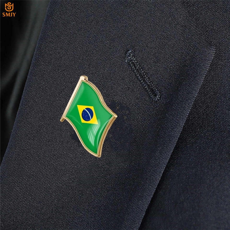 5 шт. бразильская зеленая брошь в виде флага шляпа костюм одежда булавка памятный значок коллекция для украшения