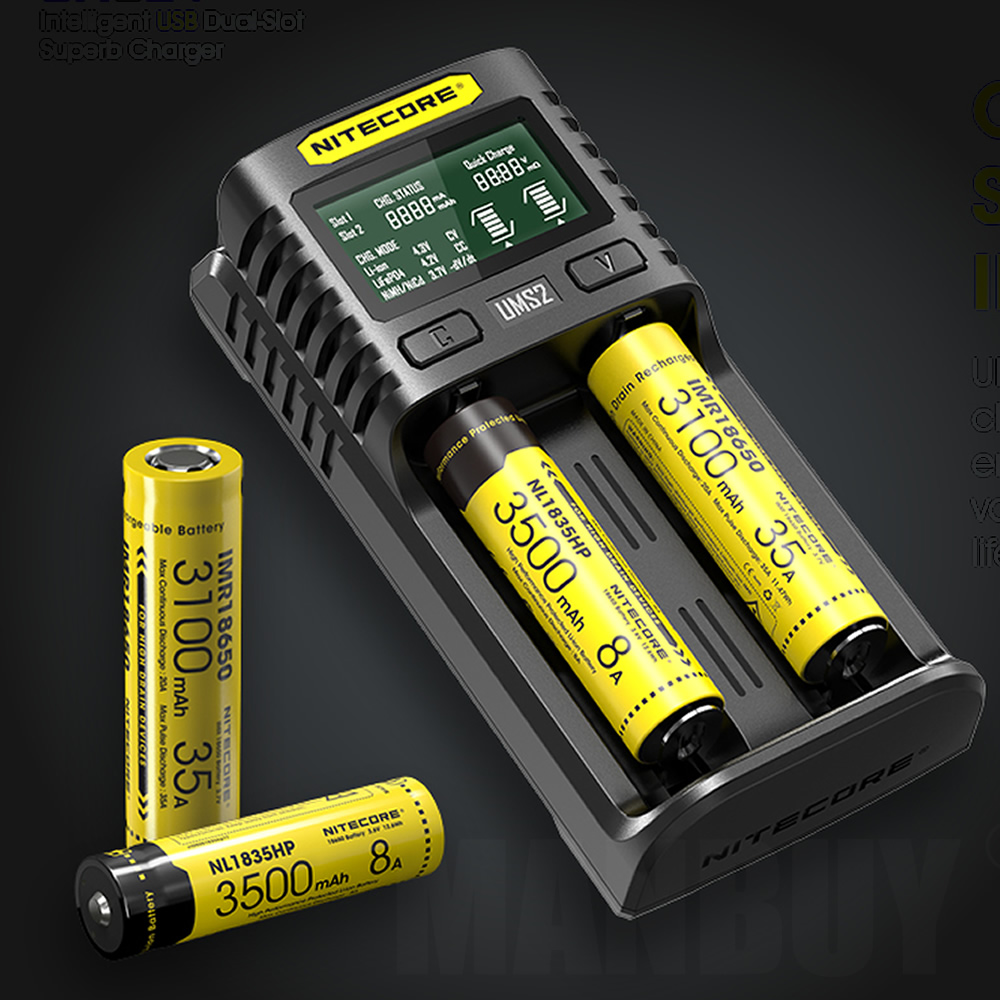 NITECORE UMS2 Automatic Universal 3A Quick Charger Intelligent USB Dual-Slot Super Charger Liion Ni-Cd Ni-MH IMR Without Battery