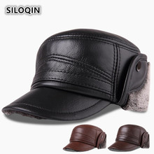 SILOQIN  Genuine Leather Hat Men Thicken Warm First Layer Cowhide Military Winter Outdoor Earmuffs Flat Cap Dad Leisure Hats