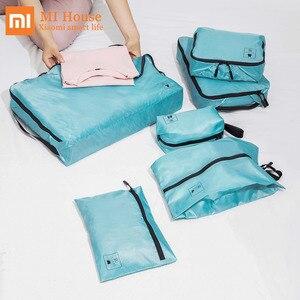 Image 1 - 1 סט Xiaomi Mijia 90fun אחסון שקית עמיד למים כתם עמיד מתקפל ארגונית בגדי נעלי תחתוני קל לשאת נסיעות תיק