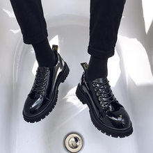 Small leather shoes men's Korean fashion casual bright leather men's shoes youth British style all kinds of students black tide