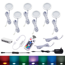 4/6 Pucks RGB LED Under Cabinet Lamp Puck Light Kit Wtih RF Remtoe Controller Adapter Dimmable For Kitchen Counter Shelf