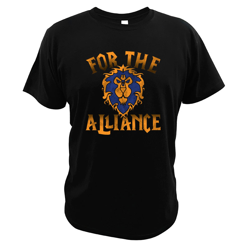 For The Alliance T Shirt World Of Warcraft Lion Digital Print EU Size High Quality Crew Neck Soft Video Game Tops