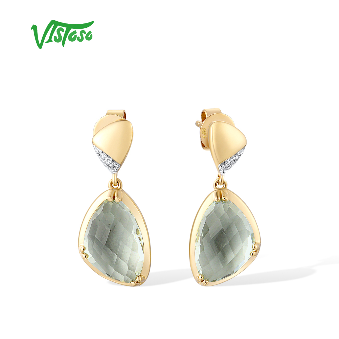 VISTOSO Pure 14K 585 Yellow Gold Earrings For Women Sparkling Diamond Natural...