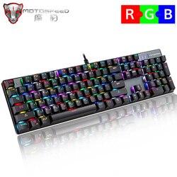 Oryginalna mechaniczna klawiatura do gier Motospeed CK104 104 key LED RGB podświetlana klawiatura na kabel USB rosyjski/angielski dla gracz komputerowy