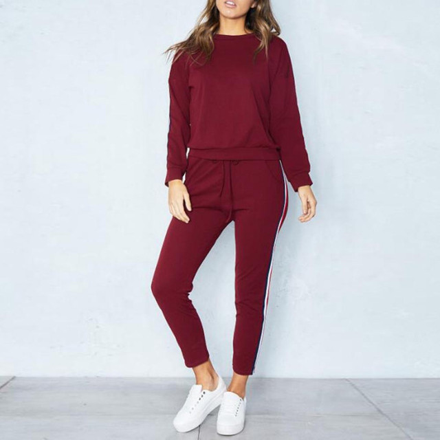 New Hot 2pcs Set Hoodies Loose Hooded Tops Sweatshirt+Solid Long Pants 2 Pieces Sets Women Clothing Suits Female Tracksuit#g2