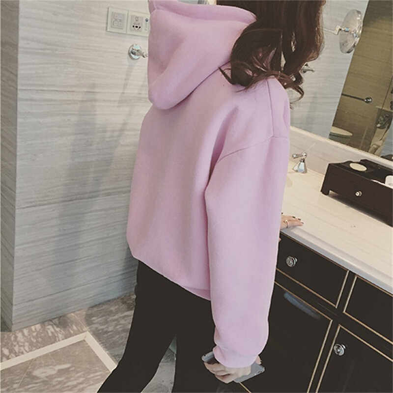 Sosial Baru Harajuku Hoodie untuk Anak Perempuan Warna Solid Atasan Wanita Sweatshirt Lengan Panjang Musim Dingin Beludru Tebal Mantel