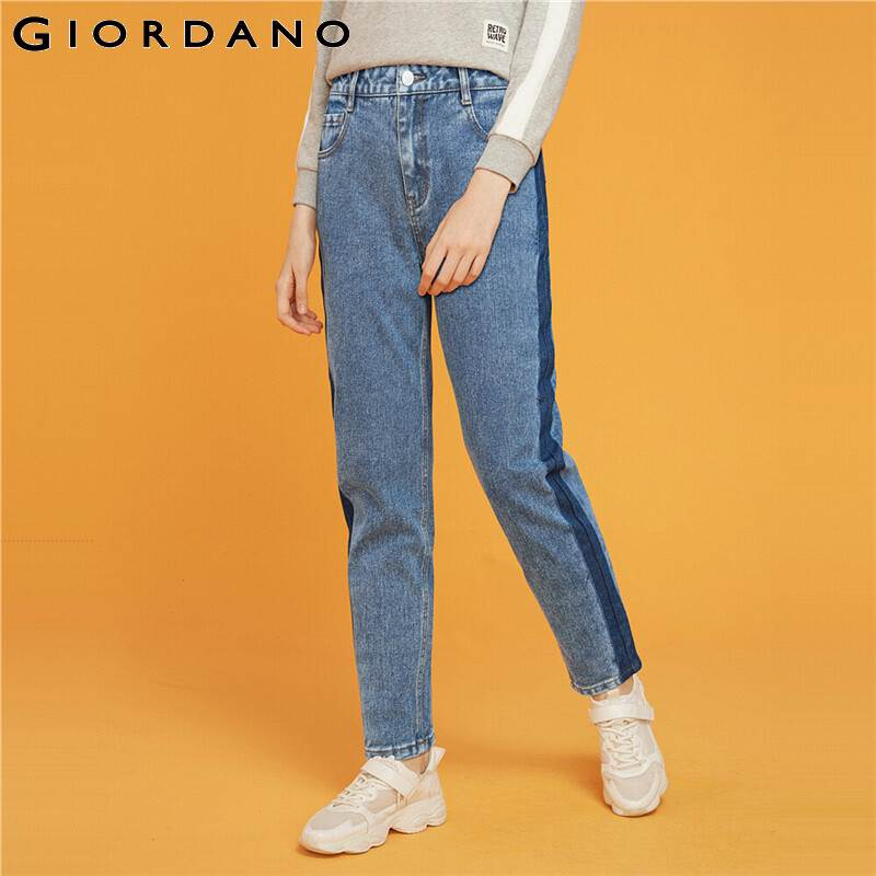 Giordano Women Jeans Mid Rise Straight Ankle-length Denim Jeans Slant Pockets Casual Calca Jeans Feminina 05429313