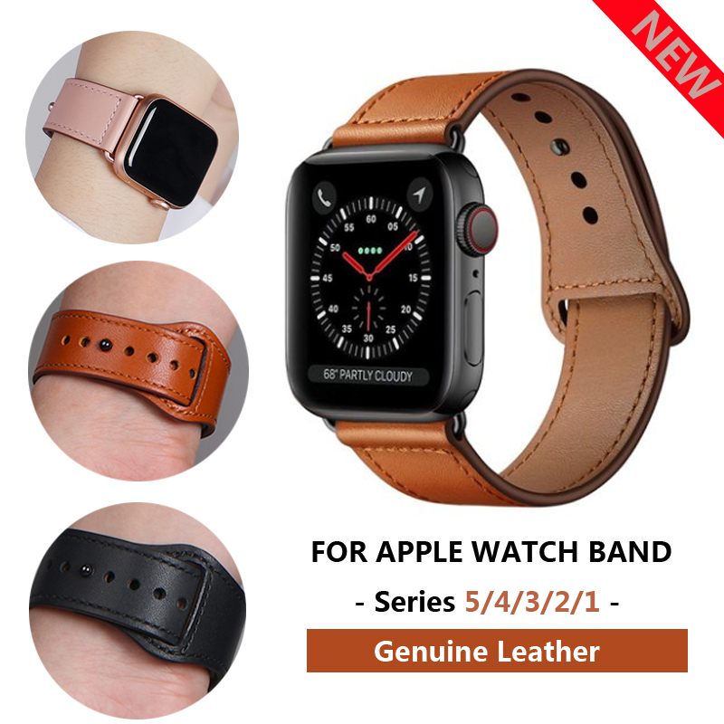 Strap for pulseira <font><b>apple</b></font> <font><b>watch</b></font> band 5 4 <font><b>3</b></font> <font><b>42mm</b></font> 38mm 40mm 44mm leather sports high-quality <font><b>correa</b></font> for <font><b>apple</b></font> iWatch bracelet belt image