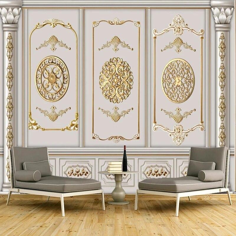 Пользовательские фото самоклеящиеся обои европейские Стиль Золотой гипса узор росписи Гостиная ТВ Спальня Backgroumd домашний декор