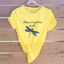 T-Shirt imprimé libellule, 100% coton, col rond, manches courtes, chemises d'été pour femmes, à la mode