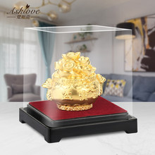 Gold Leaf Treasure Bowl Chinese Fengshui Wealth Jubaopen Treasure Bowl Statue lucky fortune Gold Foil Crafts Home office decor
