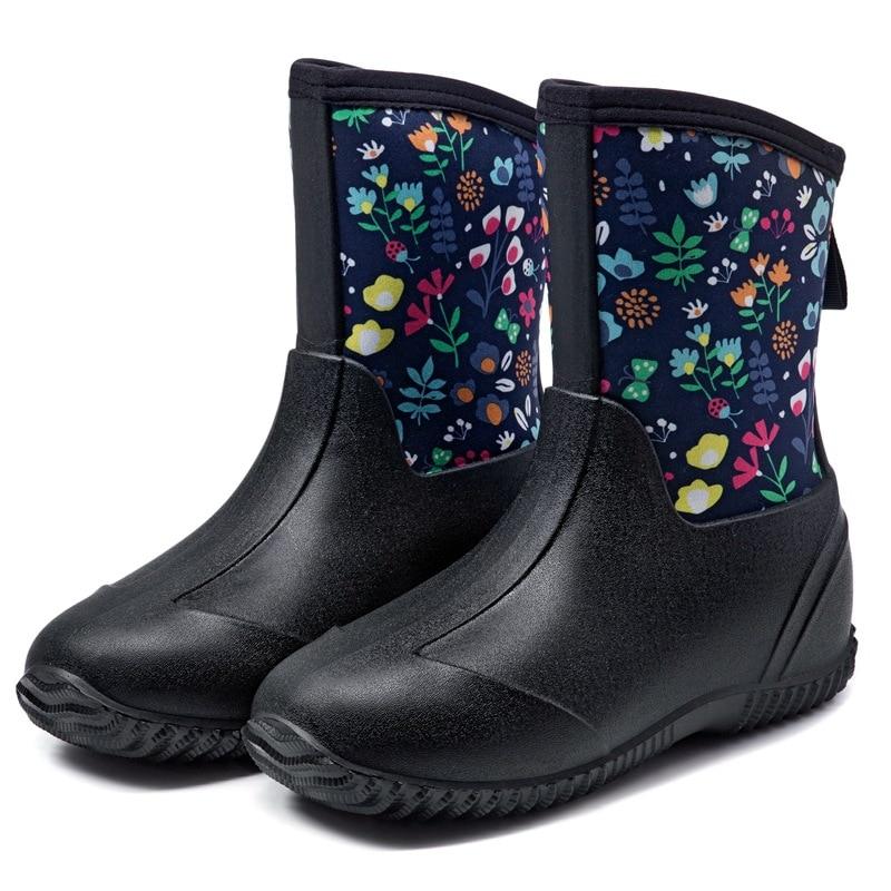 botas de chuva de cor solida sapatos de chuva de cor solida de tubo medio feminino