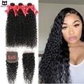32 34 36 дюймов вьющиеся пряди с закрытием 5X5 кружева закрытие бразильский человеческих волос Rucycat длинные волосы пряди с закрытием Волосы Remy