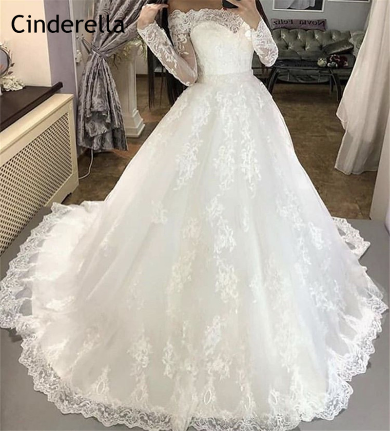 Charming Boat Neck Long Sleeves Court Train Lace Applique Tulle Wedding Dresses With Lace Up Back Ivory Color Lace Bride Dresses