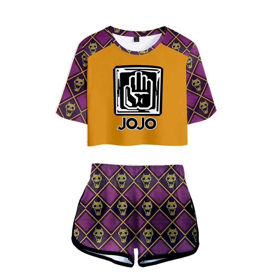 Summer 3D Printed  JOJO's Fantastic Adventure Character Suit Exposed Navel T Shirt+shorts Women's/girl's 3D JOJO Two-piece Sets