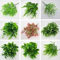 1PC Home Dekoration Gefälschte Pflanzen Eukalyptus Gras Kunststoff Farne Grüne Blätter Künstliche Blume Hochzeit Wohnzimmer Tisch Dekor