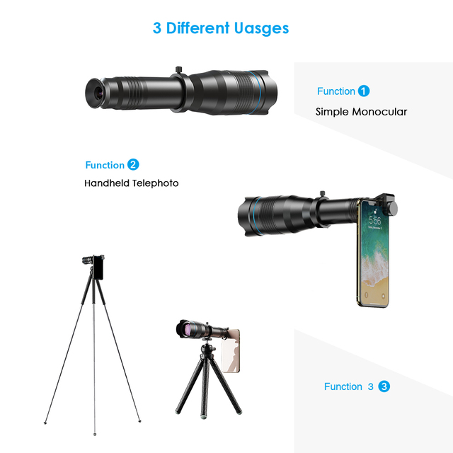 APEXEL Optional HD 60X metal telescope telephoto lens monocular mobile lens+ extendable tripod for iPhone Huawei all Smartphones 1