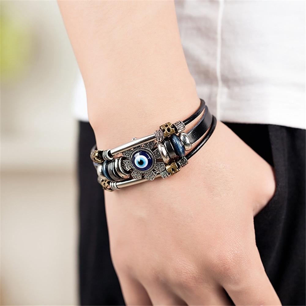 Lucky Eye Turkish Evil Eye Bracelets for Men Women Punk Style Flower Handmade Jewelry Multilayer Black Leather Bracelet Female