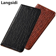Ostrich Pattern Genuine Leather Case Card Slot Holder Phone Bag For Xiaomi Redmi Note 7 Pro/Redmi Note 7 Flip Phone Cover Bag ostrich pattern genuine leather case card slot holder phone bag for xiaomi redmi note 6 pro redmi note 5 pro flip phone cover