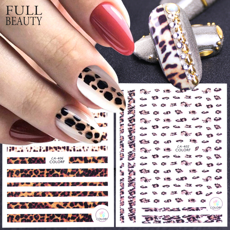 1pcs 3D Nail Stickers Leopard Self Adhesive Sexy Designs Women Slider Decals For Nail Art Decorations Manicure Tips CHCA401-409