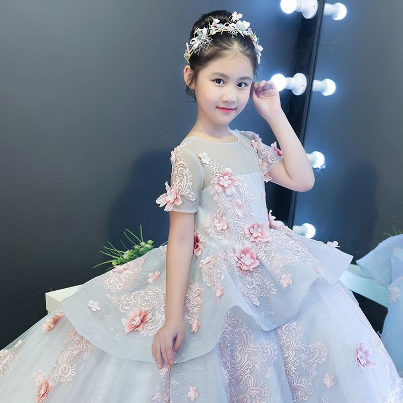 CHILDREN'S Dress Princess Dress Girls Large Tailing Model Catwalks Formal Dress Wedding Dress Piano Performance Tutu Small Host