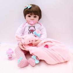 Simulation bébé 47CM corps complet Silicone rose robe ensemble poupée Reborn poupée preuve de l'eau bain poupée jouet noël Gfit