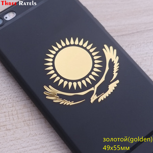 Image 5 - Tre Ratels MT 030 #49*55mm 1 2 pezzi la bandiera del Kazakistan in metallo dorato nichel auto sticker adesivi auto