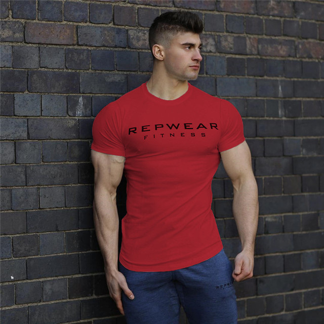 2020 New summer shirt cotton gym fitness men t-shirt brand clothing Sports t shirt male print short sleeve Running t shirt 3