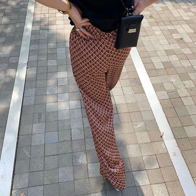 Летнее принтованное платье Y2K брюки женские 2021 с высокой талией в винтажном стиле; Повседневные свободные штаны на лето и весну модные штаны...
