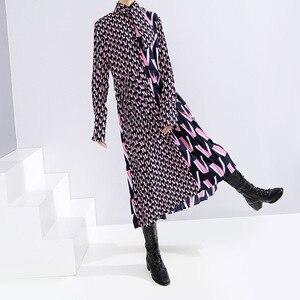 Image 4 - Женское платье с принтом EAM, свободное платье с длинными рукавами и бантом, весна осень 2020, 19A a872