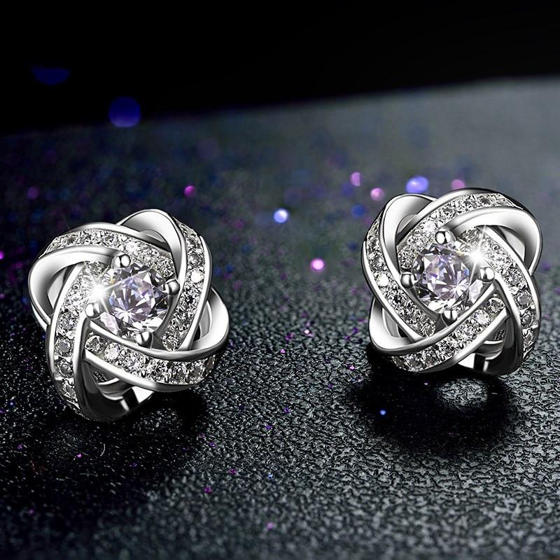 s925 sterling silver threaded stud earrings temperament Koreaversion romantic simple purple and white zircon earrings for women