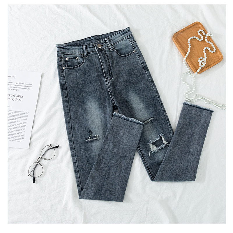 JUJULAND High Waist Ripped Skinny Pencil Jeans Woman Plus Size Gray Stretch Jeans Ladies Women Jeans Pants Denim Jeans 8204