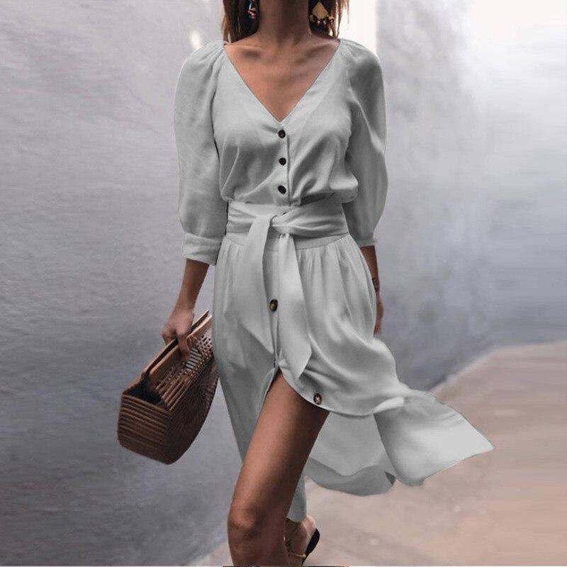 Женское пляжное платье GOOHOJIO, повседневное длинное платье с цветочным принтом и рюшами, с короткими рукавами и v-образным вырезом, вечерние платья на лето