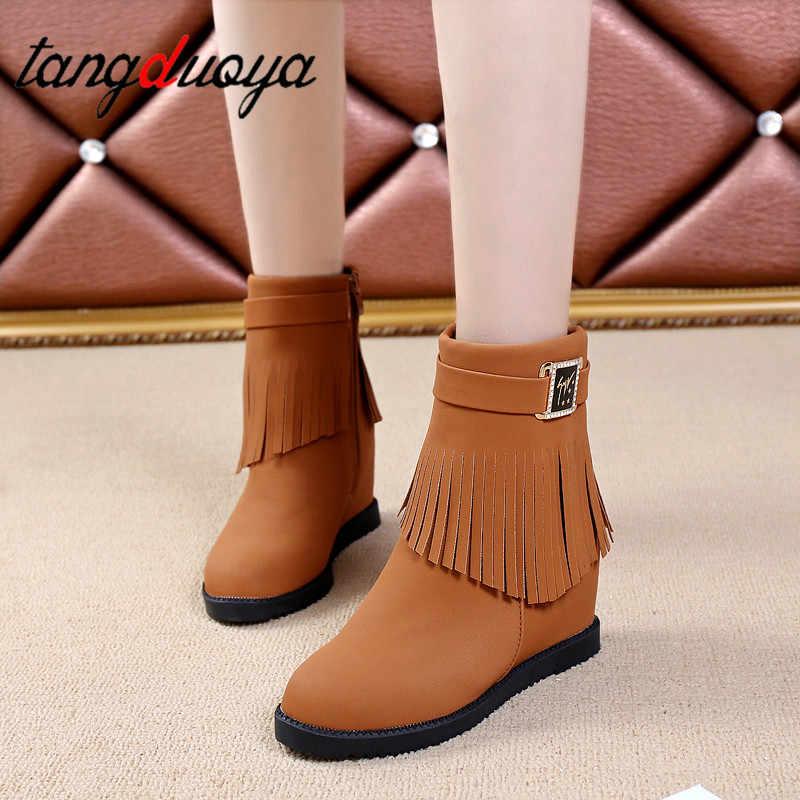 ข้อเท้ารองเท้าสำหรับสุภาพสตรีรองเท้าผู้หญิงหิมะหิมะกันน้ำ wedge รองเท้าผู้หญิง fringe รองเท้า 2019 ความสูงเพิ่มรองเท้ารองเท้าผู้หญิง