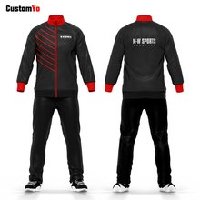 Long Sleeve Full Zipper Quick Dry Black And Red Stripe Jogging Gym Tracksuit(China)