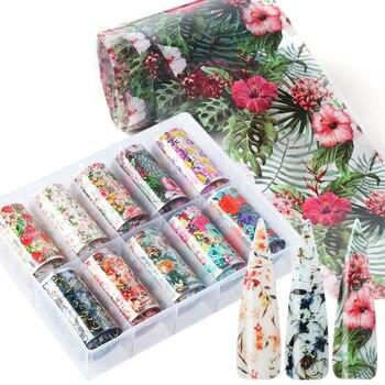 10pcs Flowers Leaf Nail Foils Stickers For Nail Art Decorations Designs Manicure Decals Transfer Wraps Accessories TRXKH40-54-1 1