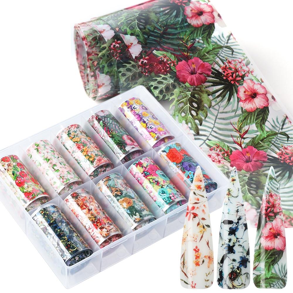 10pcs Flowers Leaf Nail Foils Stickers For Nail Art Decorations Designs Manicure Decals Transfer Wraps Accessories TRXKH40-54-1
