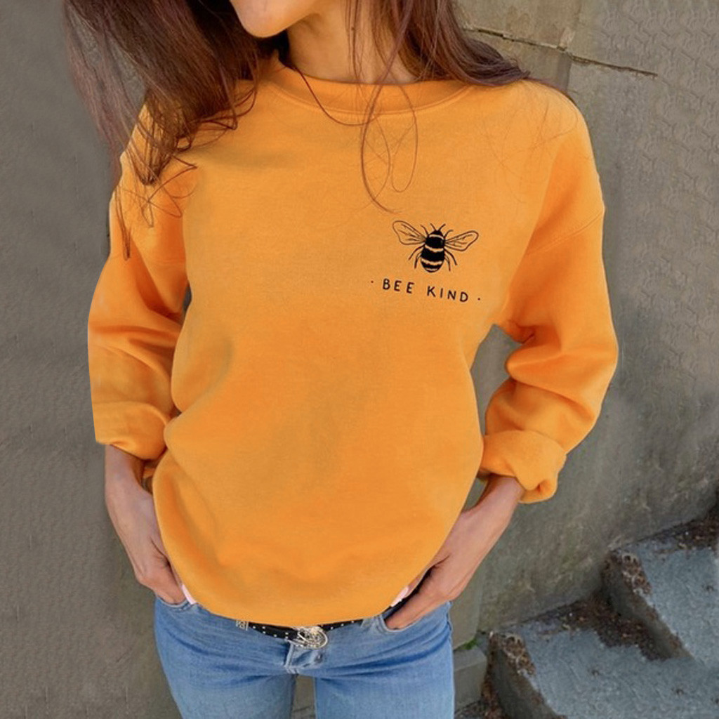 Women T Shirt Autumn And Winter Long Sleeves Women's Autumn Fashion Sweatshirts Bee Kind Letter Print Casual Loose