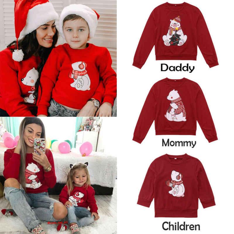 크리스마스 패밀리 매칭 여성 남성 키즈 스웨터 후드 티 스웨터 크리스마스 산타 레드 긴 소매 가을 겨울 탑 t 셔츠