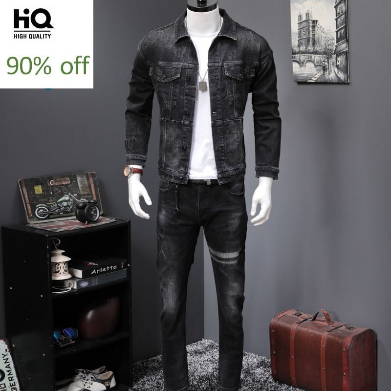 Classic Black Denim Sets Men High Quality Slim Jacket Coats And Straight Jeans Two Piece Sets 2020 New Autumn Fashion Streetwear