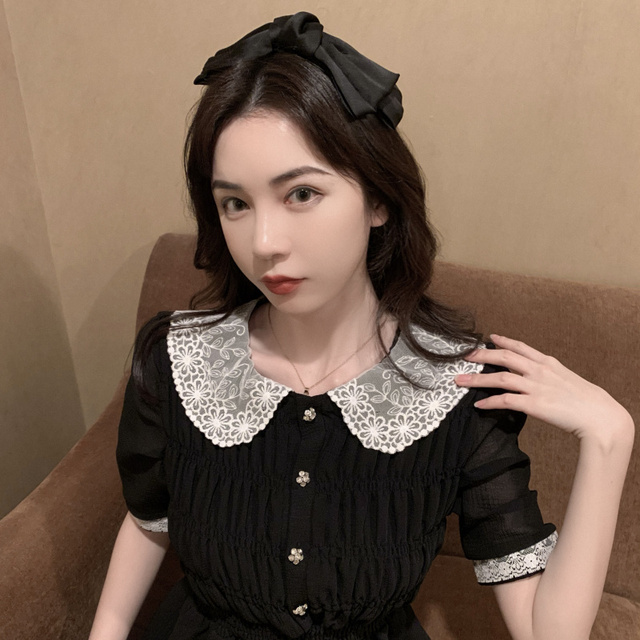 2021 Summer Retro Lace Peter Pan Collar Short Sleeve Black Chiffon Vestido Holiday A-line Chic Casual Ladies Slim Dress 4
