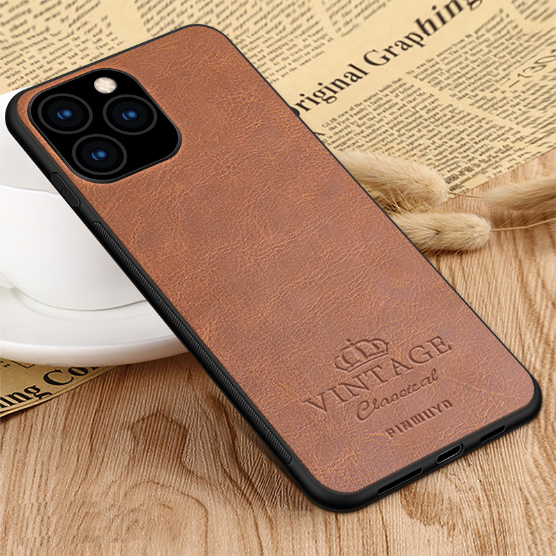 For iPhone 11 Pro Max 6.5'' PINWUYO Case for iPhone 11 6.1'' Retro Leather Soft Edge Hard Back Case for iPhone 11 Pro 5.8''|Fitted Cases| |  - title=
