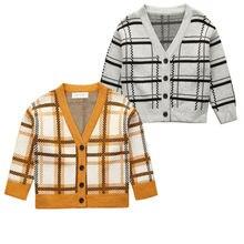 Emmaaby/Детский свитер для мальчиков и девочек; сезон осень-зима; вязаный кардиган; свитер; пальто; новая куртка для малышей; верхняя одежда