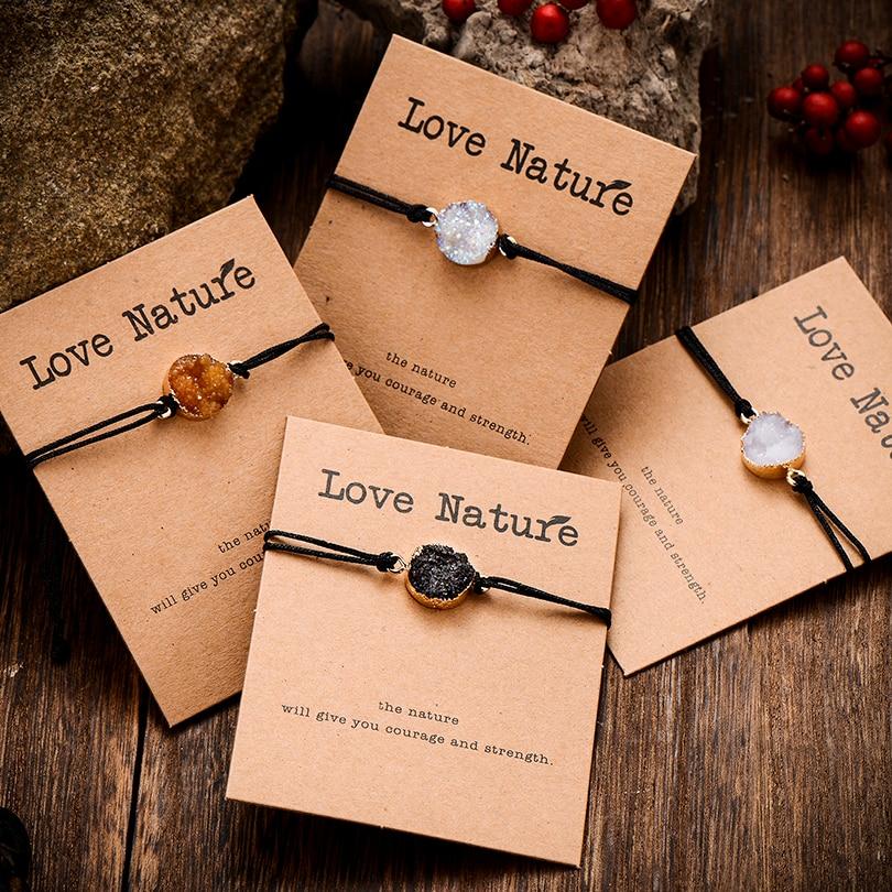 Ethnic Resin Crystal Stone Bead Bracelet for Men Women Trendy Black String Braided Couple Bracelets Charm Jewelry Wholesale