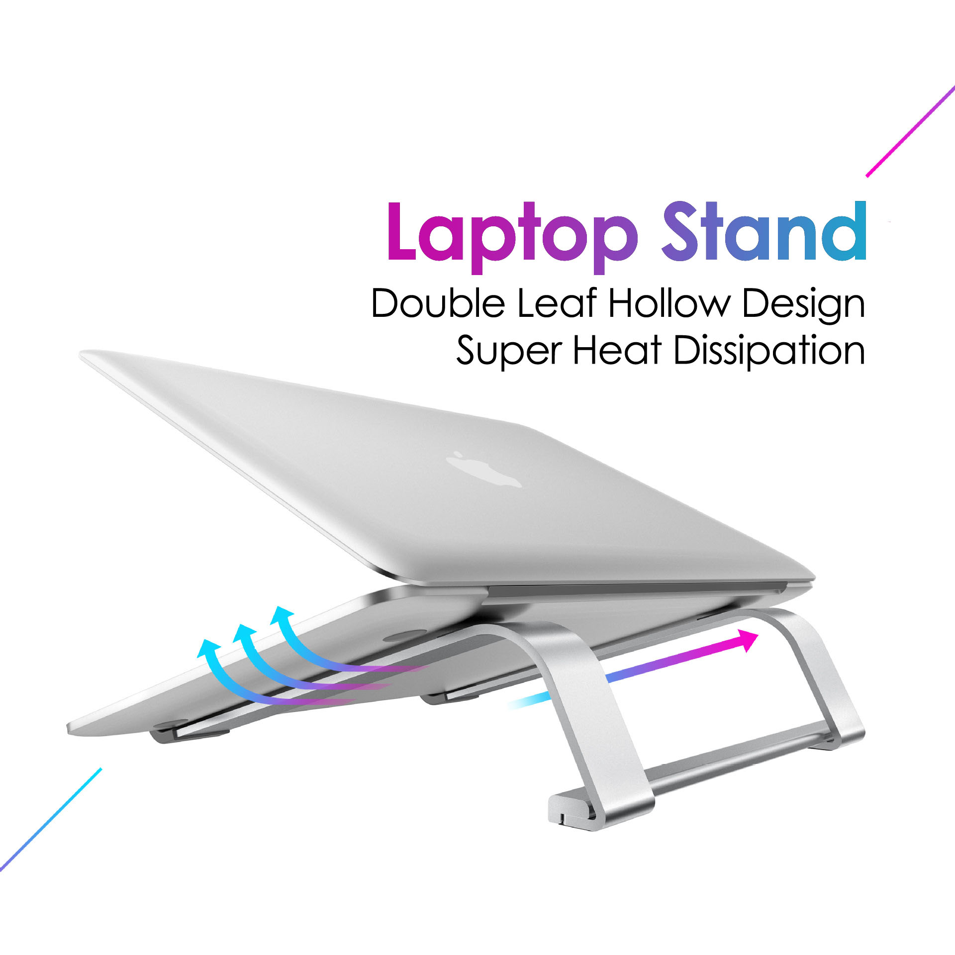 Aluminium Alloy Double Leaf Hollow Laptop Stand Desktop Tablet Holder Desk Mobile Phone Stand For IPad Macbook Pro Air Notebook